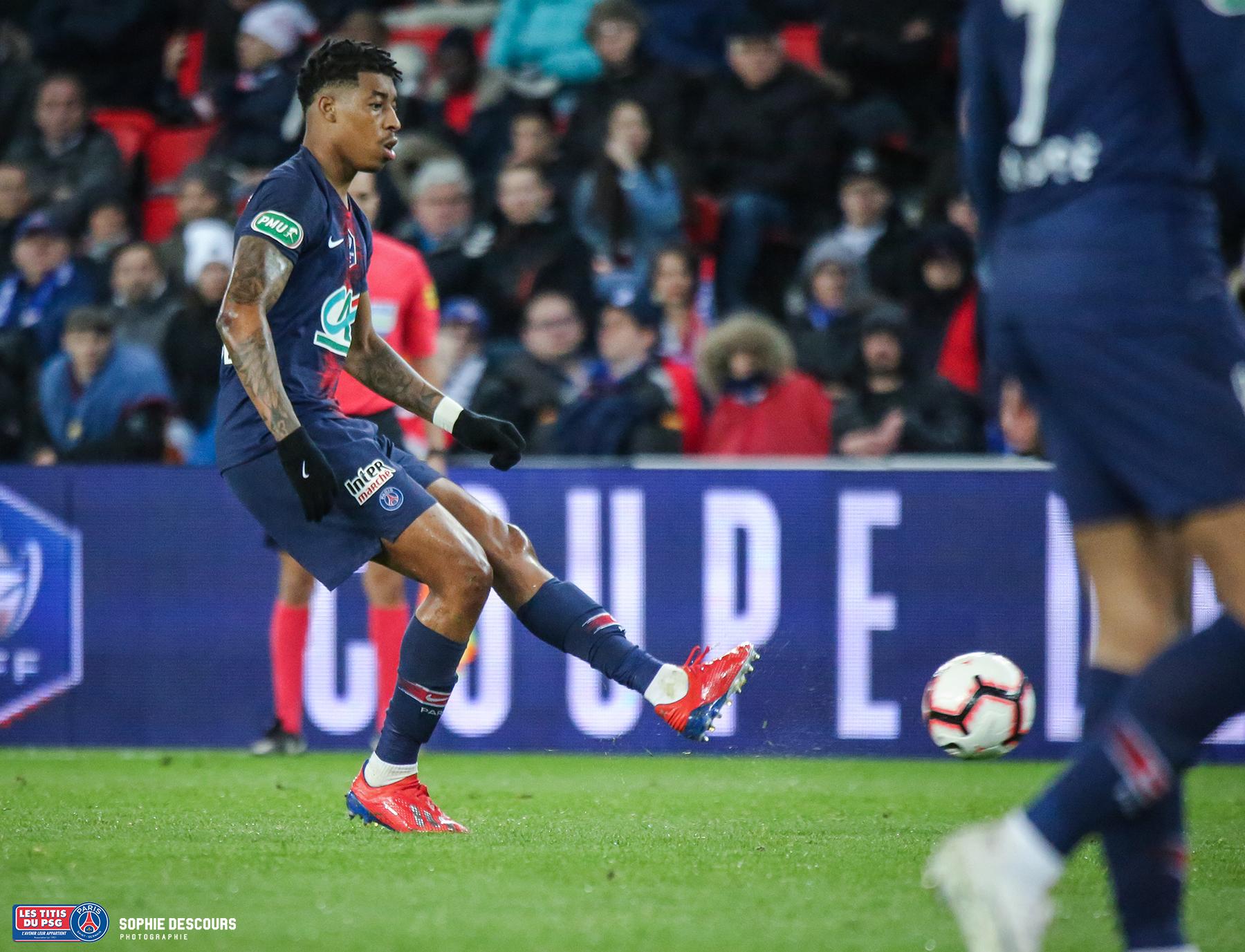 Presnel Kimpembe pendant la demi finale de la coupe de France PSG-FC NANTES