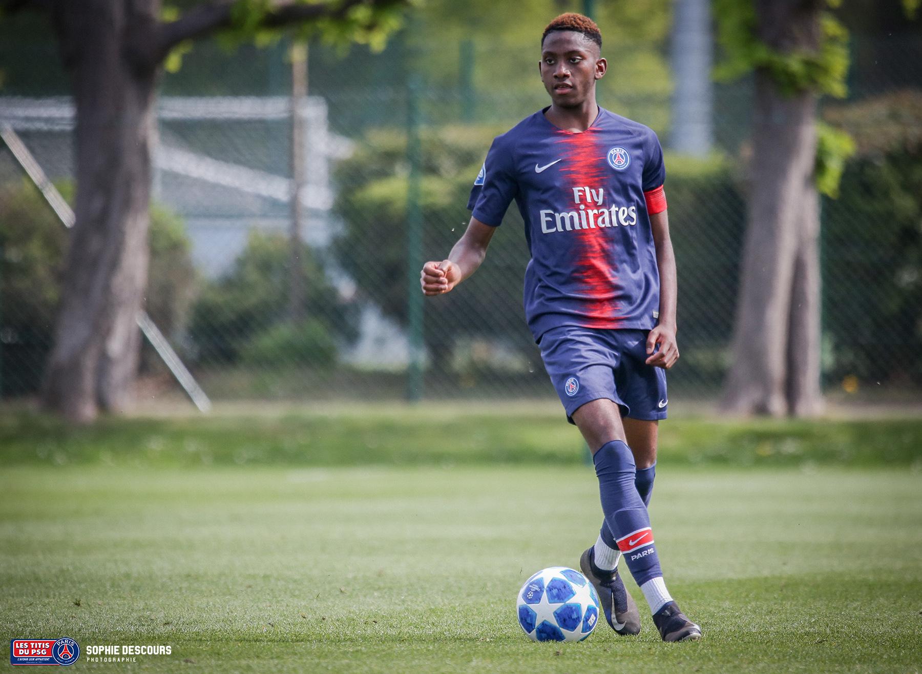 Raphaêl Nya défenseur U19 pendant le match PSG-LOSC le 21/04/2019