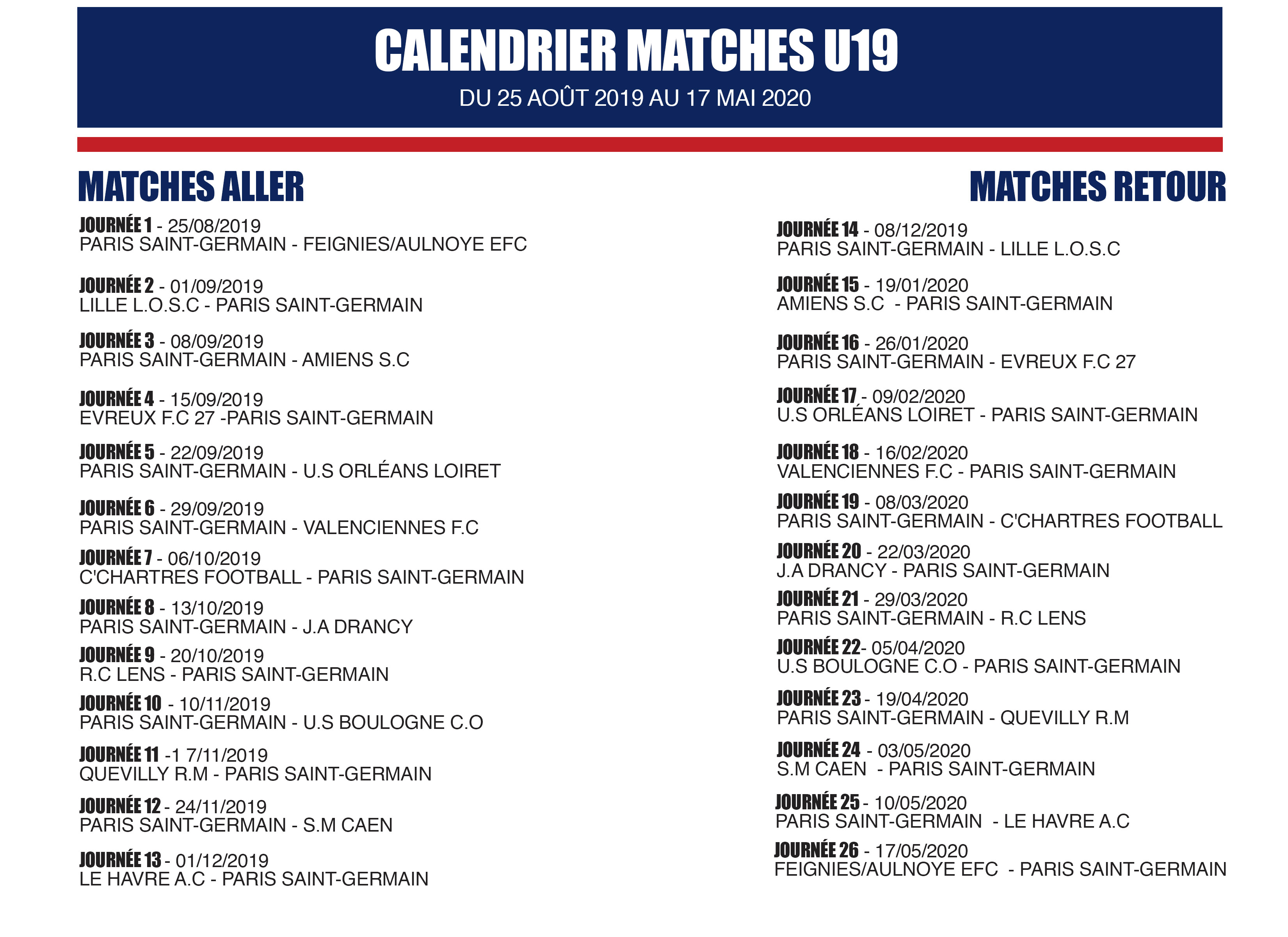 Calendrier Psg 2020.Calendrier Matches U19 Saison 2019 2020 Les Titis Du Psg