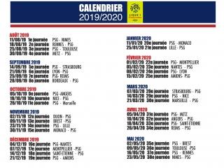 Calendrier Ligue 1 Psg 2019 2020.Calendrier Ligue 1 2019 2020 Les Titis Du Psg