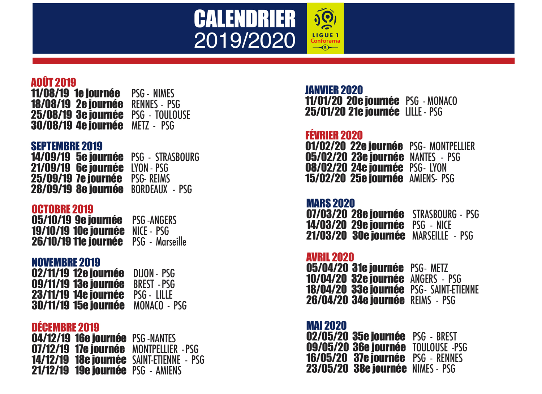 Calendrier Ligue 1 2019 2020.Calendrier Ligue 1 2019 2020 Les Titis Du Psg